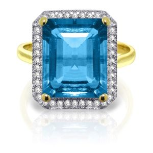 14K. GOLD RING WITH NATURAL DIAMONDS & BLUE TOPAZ
